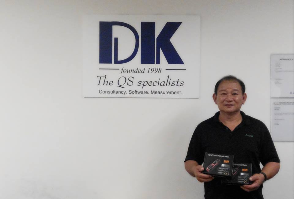 Aegis Building & Engineering Pte Ltd's representative with their purchase of laser distance measure.